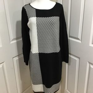 Chaps Black & White Knit Dress Size XL